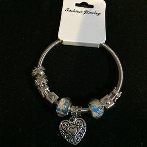 NWT Stretch Bracelet W Heart and Charms